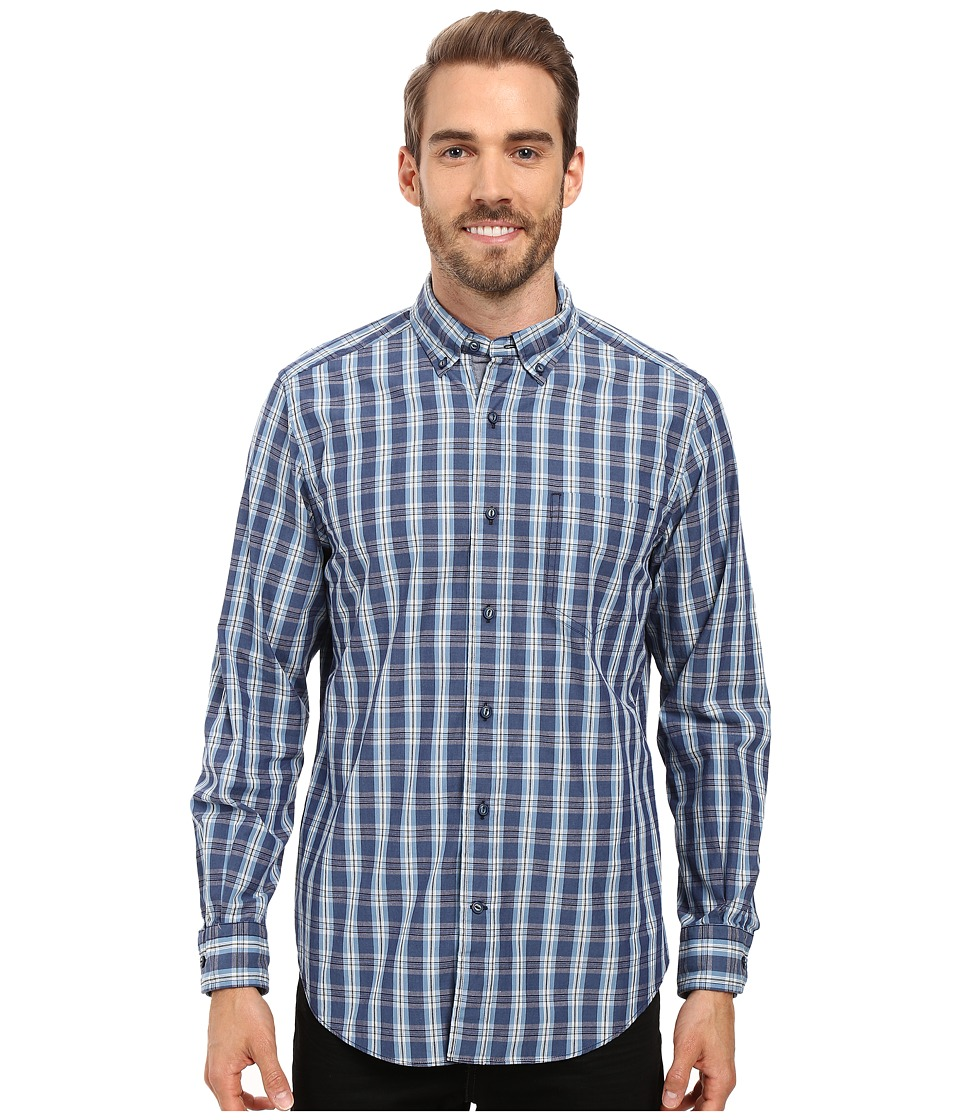 Nautica - Long Sleeve Medium Plaid Poplin (True Navy) Men's Long Sleeve Button Up
