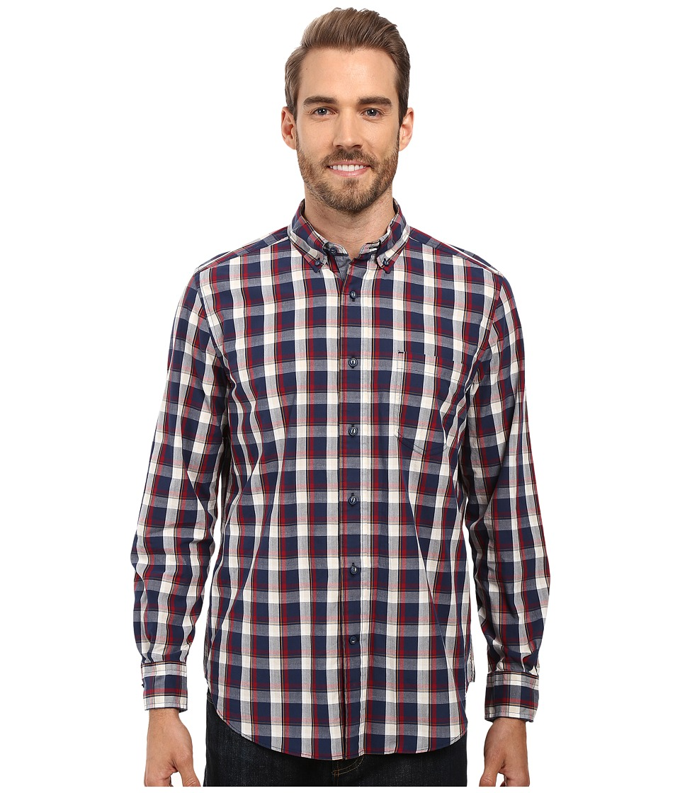 Nautica - Long Sleeve Large Plaid Shirt (Marine Blue) Men's Long Sleeve Button Up