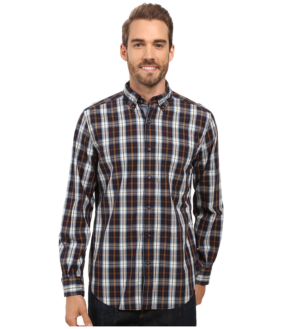 Nautica - Long Sleeve Large Plaid Shirt (True Navy) Men's Long Sleeve Button Up