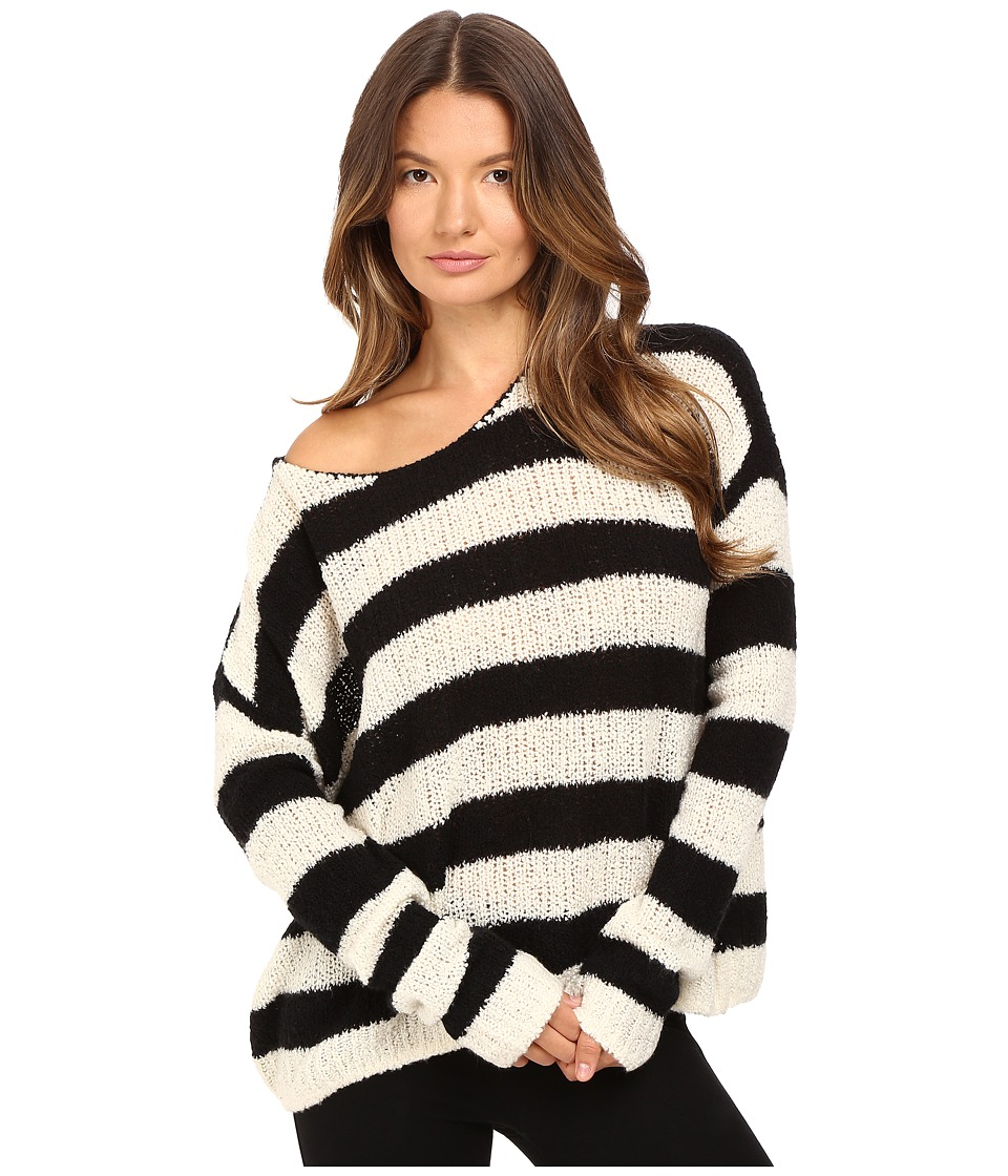 ATM Anthony Thomas Melillo - Boat Neck Drop Shoulder Sweater (Chalk/Black Stripe) Women's Sweater