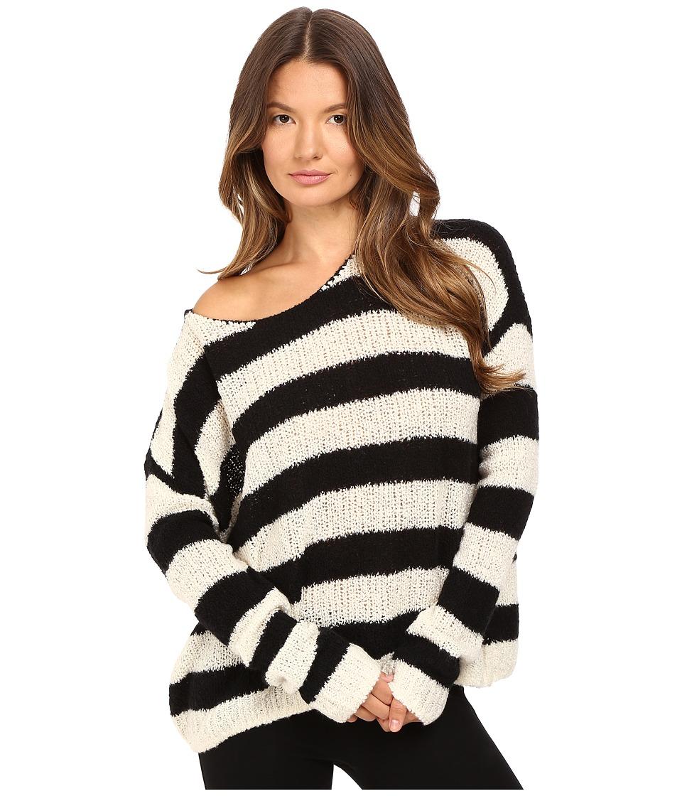 Image of ATM Anthony Thomas Melillo - Boat Neck Drop Shoulder Sweater (Chalk/Black Stripe) Women's Sweater