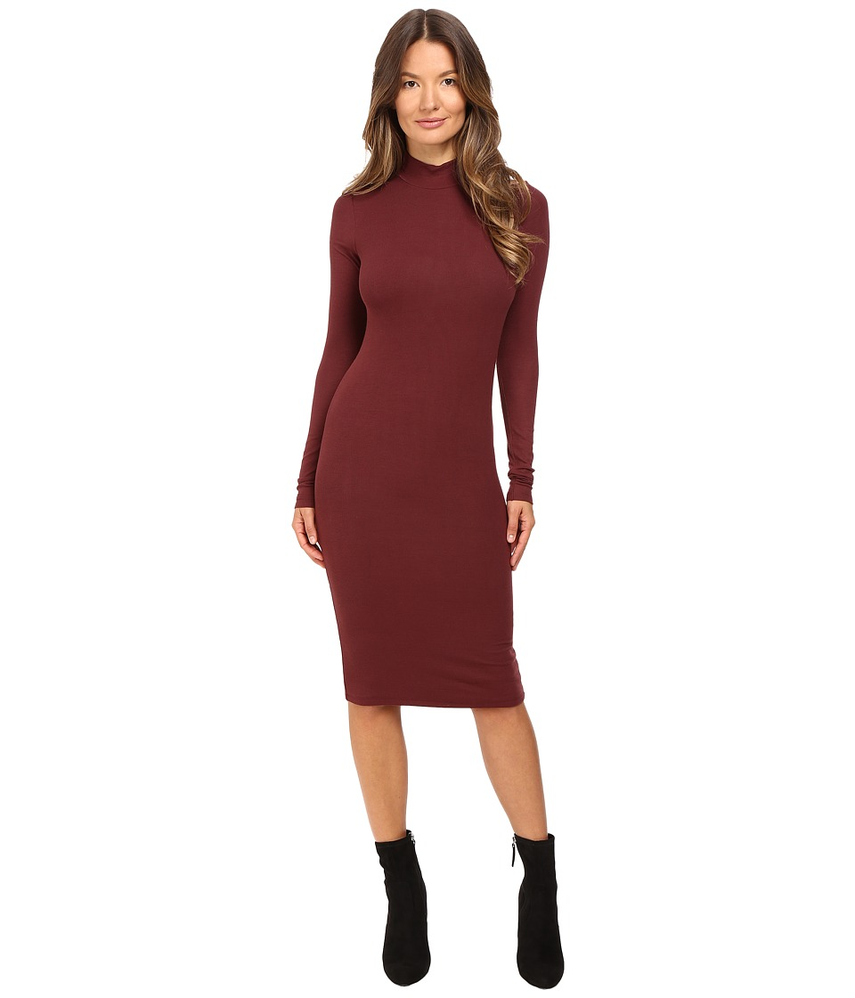 ATM Anthony Thomas Melillo Long Sleeve Mock Neck Dress (Rust) Women