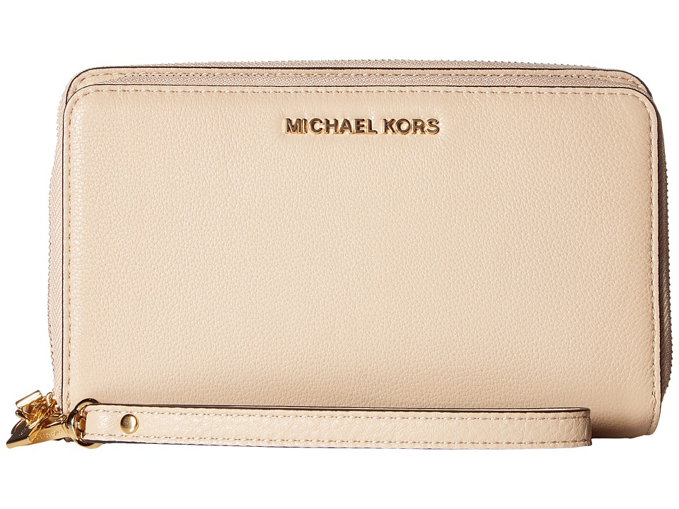 MICHAEL Michael Kors - Adele Large Flat Multifunction Phone Case (Oyster) Cell Phone Case