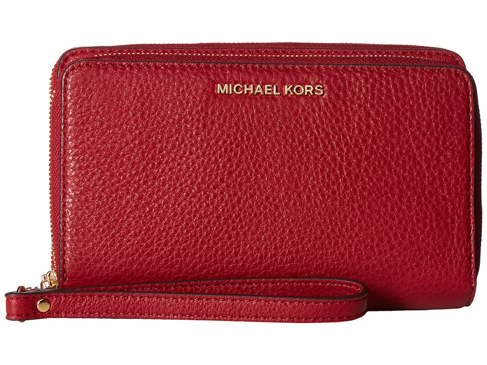 MICHAEL Michael Kors - Adele Large Flat Multifunction Phone Case (Cherry) Cell Phone Case