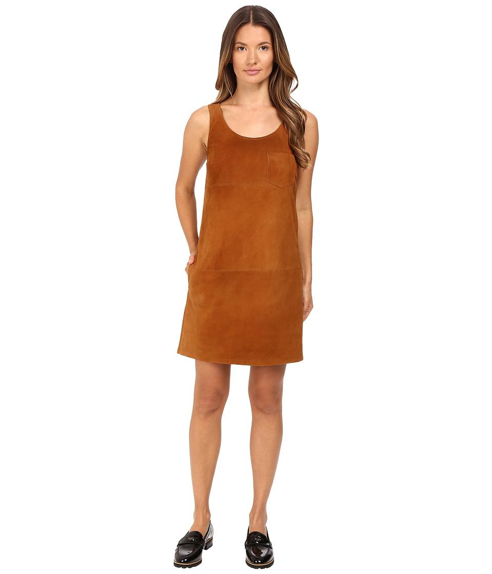 ATM Anthony Thomas Melillo - V-Neck Suede Dress (Cognac) Women's Dress