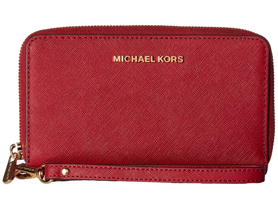 MICHAEL Michael Kors - Jet Set Travel Large Flat Multifunction Phone Case (Cherry) Cell Phone Case