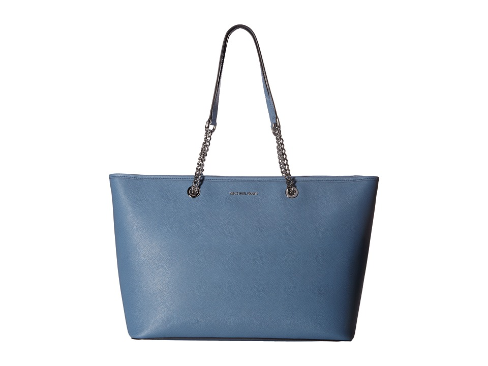 MICHAEL Michael Kors - Jet Set Travel Chain Medium Top Zip Multifunction Tote (Denim) Tote Handbags