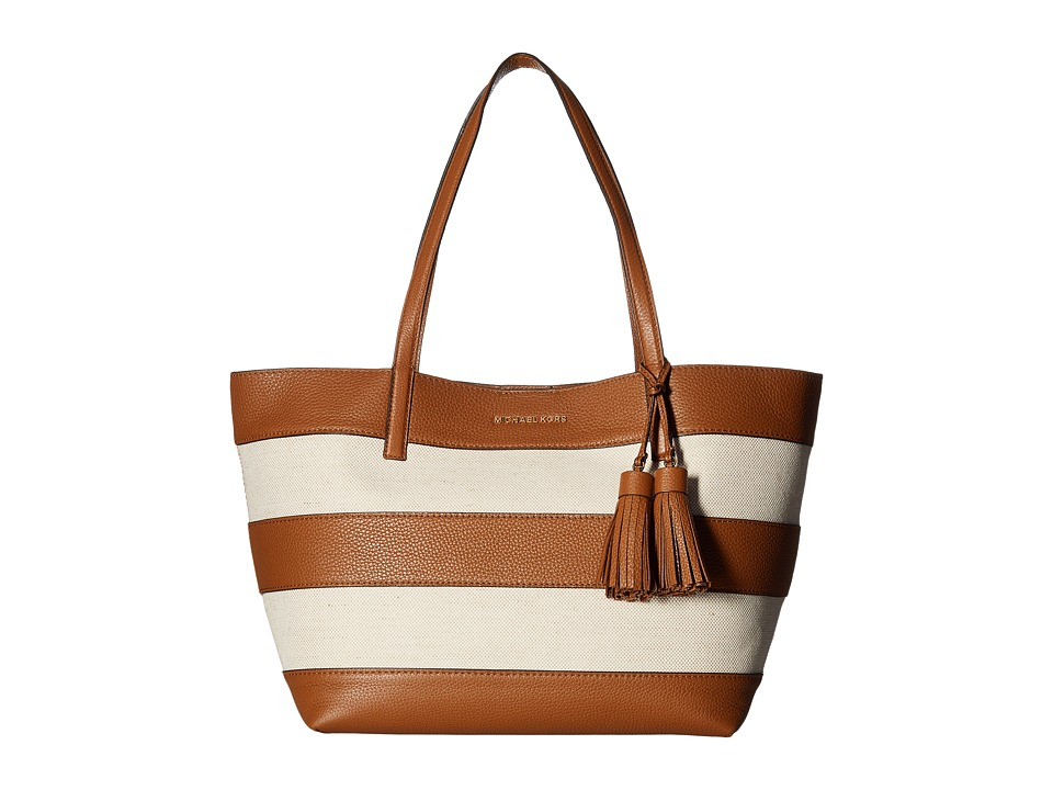 MICHAEL Michael Kors - Stripe Canvas Large East/West Tote (Natural/Acorn) Tote Handbags