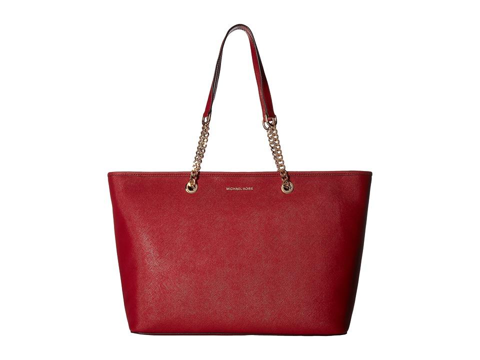 MICHAEL Michael Kors - Jet Set Travel Chain Medium Top Zip Mult Funt Tote (Cherry) Tote Handbags