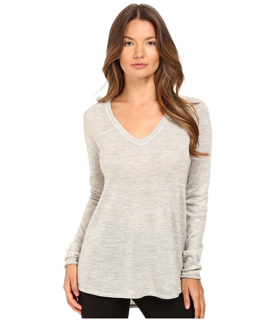 ATM Anthony Thomas Melillo - V-Neck Raw Edge Sweater (Heather Grey) Women's Sweater