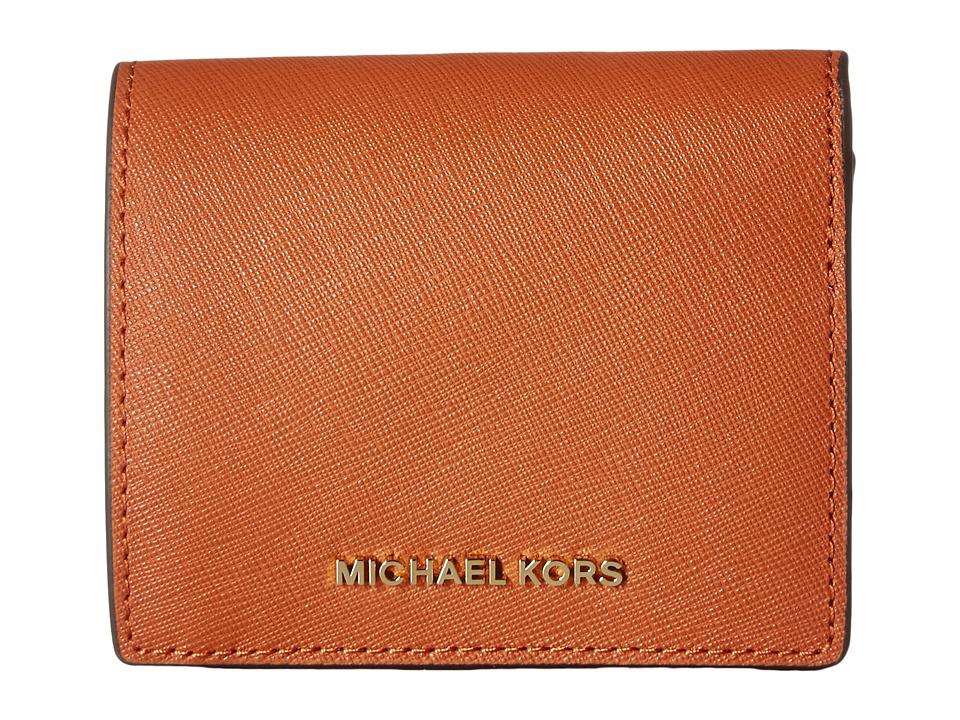 MICHAEL Michael Kors - Jet Set Travel Carryall Card Case (Orange) Credit card Wallet