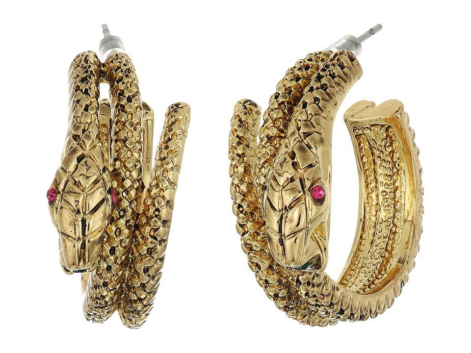 Betsey Johnson - Gold Snake Hoop Earrings (Gold) Earring