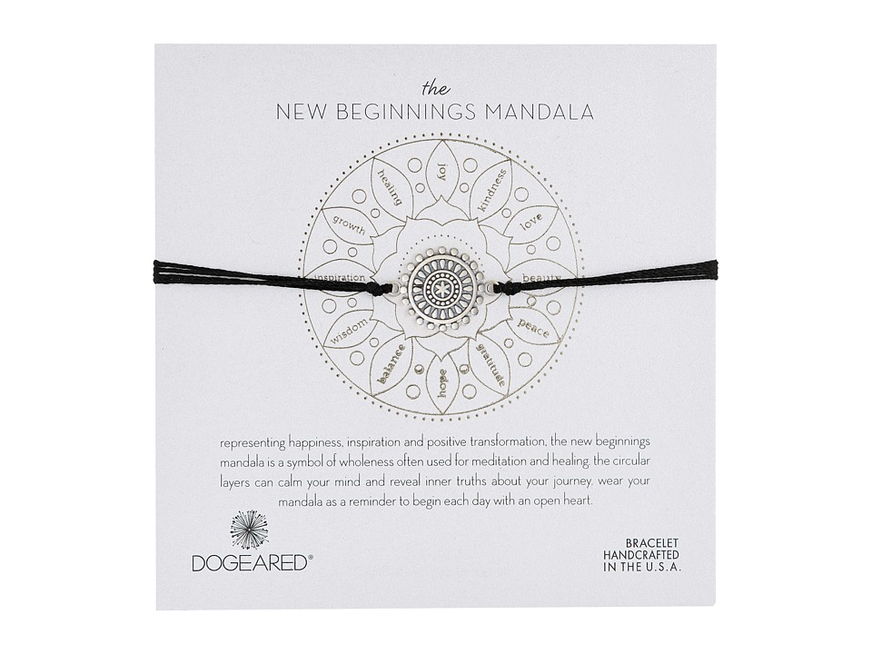 Dogeared - New Beginnings Mandala Center Star Silk Bracelet (Sterling Silver/Black) Bracelet