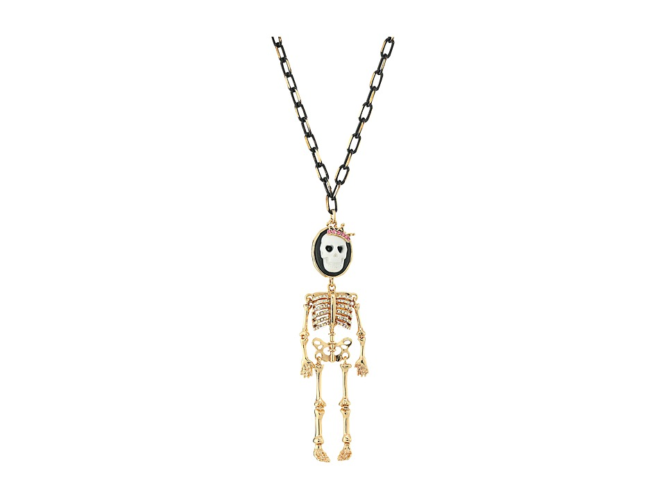 Betsey Johnson - Cameo Skull Long Pendant Necklace (Black) Necklace