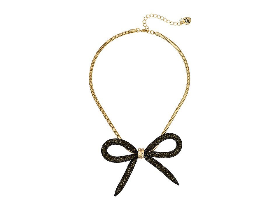 Betsey Johnson - Gold Mesh Bow Frontal Necklace (Gold) Necklace