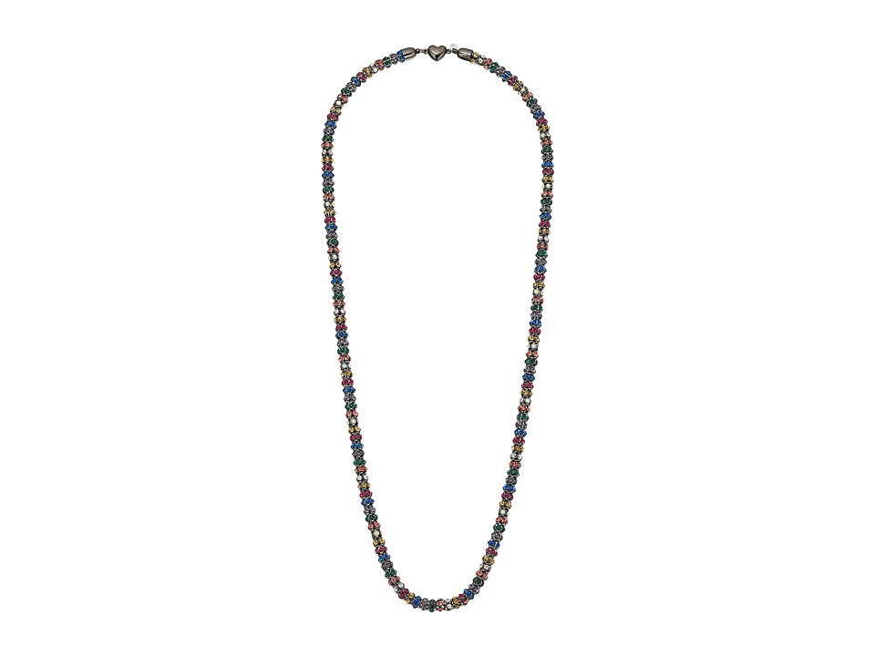 Betsey Johnson - Hematite/Multi Heart Long Necklace (Multi) Necklace