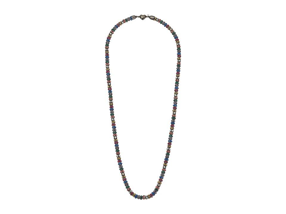 Betsey Johnson - Hematite/Multi Heart Long Necklace (Multi) Necklace