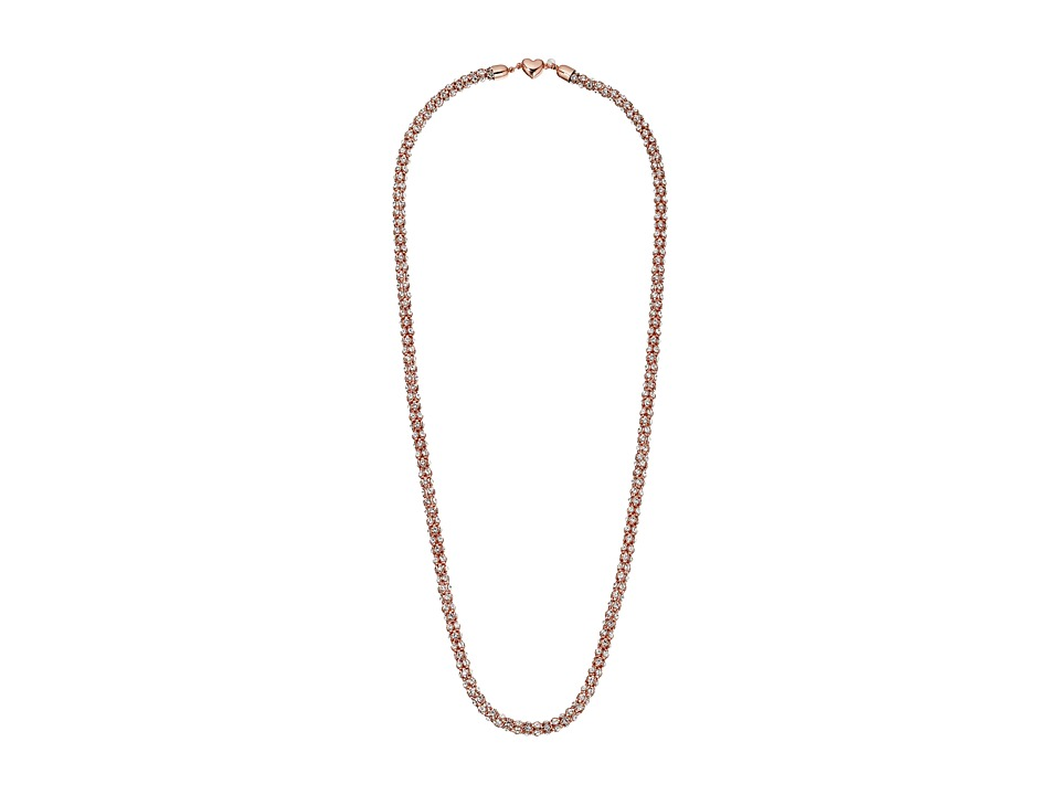 Betsey Johnson - Rose/Crystal Heart Long Necklace (Crystal) Necklace