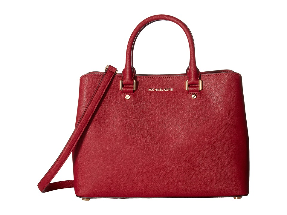 MICHAEL Michael Kors - Savannah Lg Satchel (Cherry) Satchel Handbags