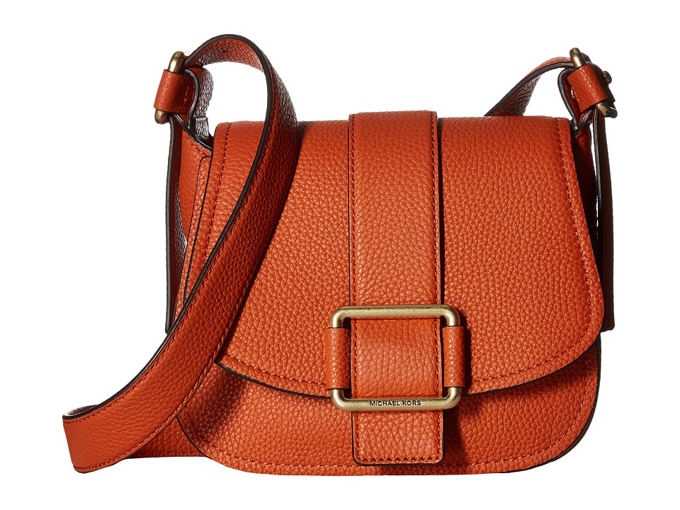 MICHAEL Michael Kors - Maxine Medium Saddle Bag (Orange) Bags