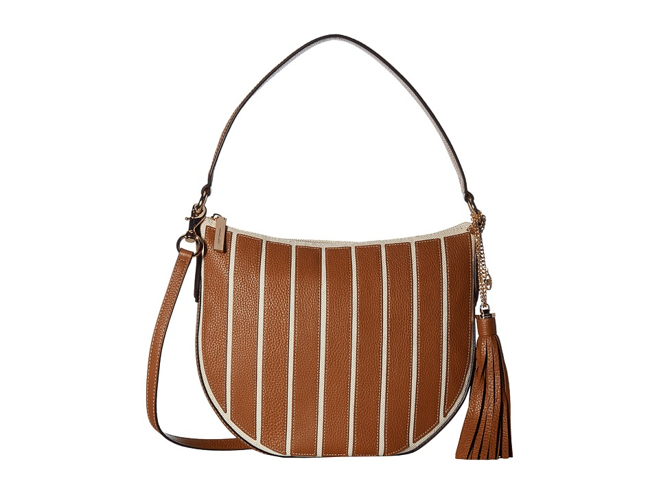 MICHAEL Michael Kors - Applique Stripe Canvas Brklyn Medium Conv Hobo (Natural/Acorn) Hobo Handbags