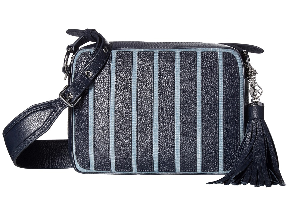 MICHAEL Michael Kors - Applique Stripe Canvas Brooklyn Large Camera Bag (Washed Denim) Bags