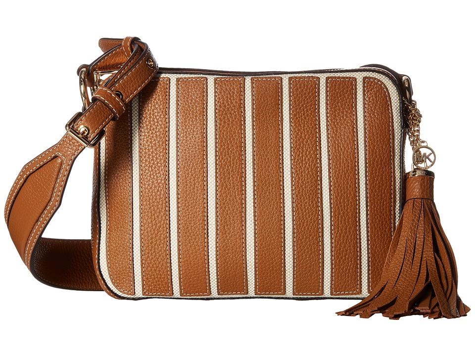 MICHAEL Michael Kors - Applique Stripe Canvas Brklyn Large Camera Bag (Natural/Acorn) Bags
