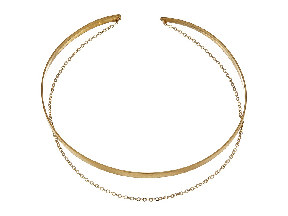 Dogeared - Plain Collar Choker w/ Draped Chain Necklace (Gold Dipped) Necklace