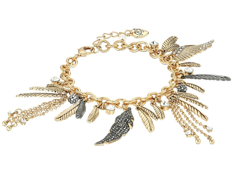 Betsey Johnson - Crystal/Gold Charm Bracelet (Crystal) Bracelet