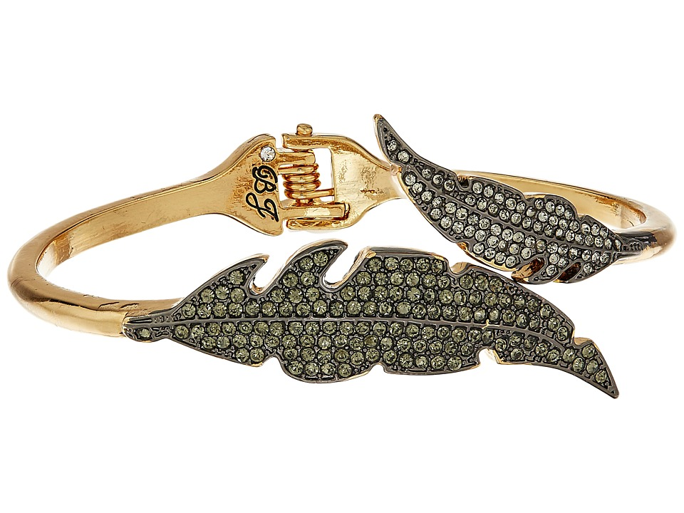 Betsey Johnson - Crystal/Gold Feather Bypass Bracelet (Crystal) Bracelet