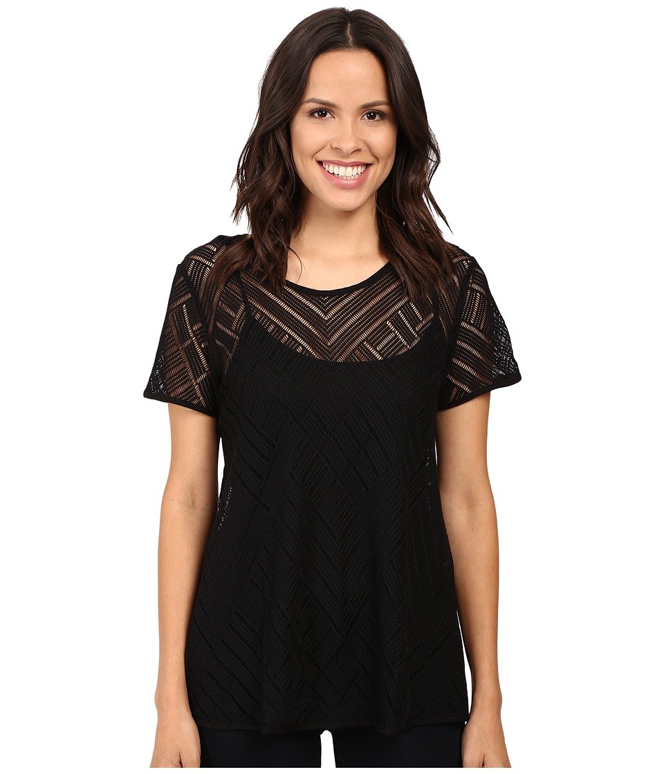 Three Dots Short Sleeve Lace Tee (Black) Women