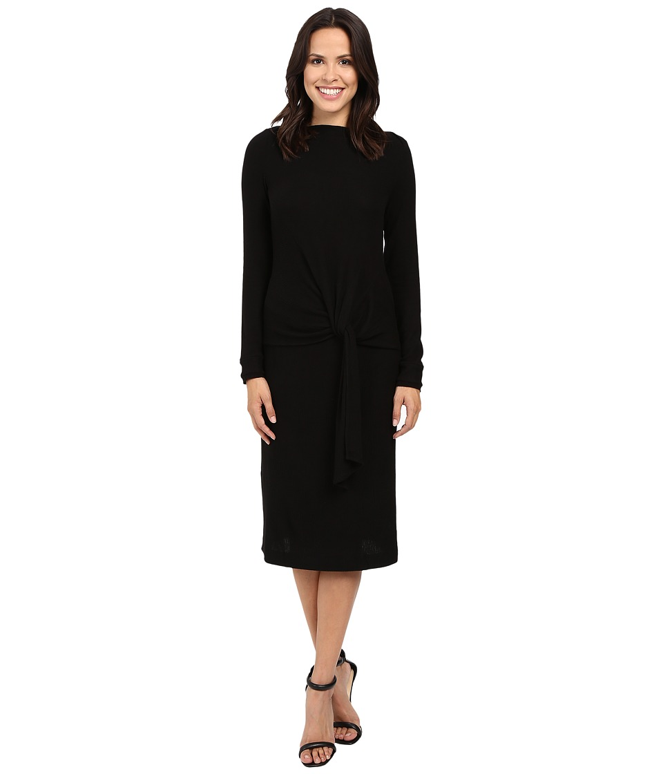 Three Dots Maivy Midi Tie Front Dress (Black) Women