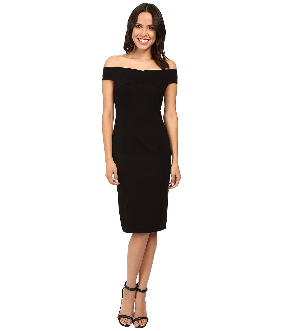 Three Dots Off the Shoulder Bandage Dress (Black) Women