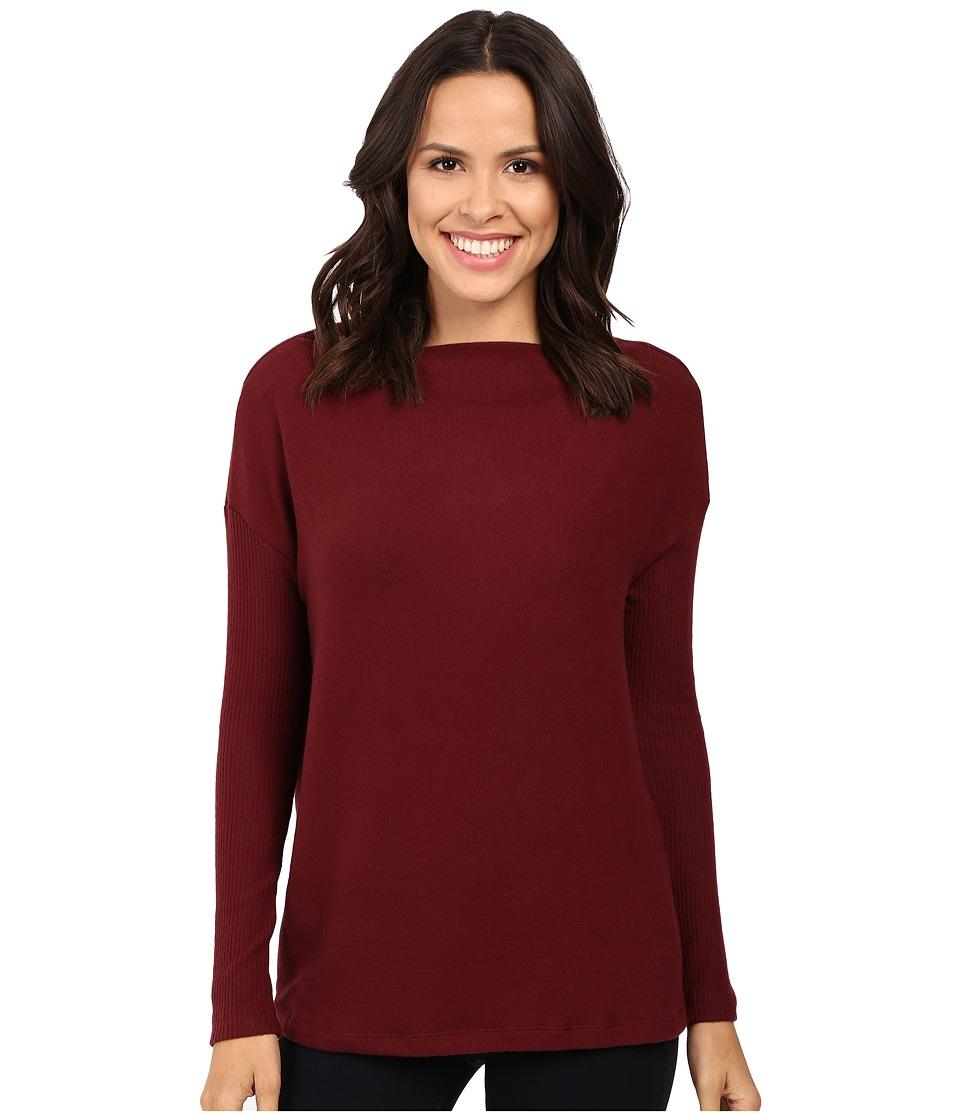 Three Dots - Long Sleeve Sweater (Bordeaux) Women's Sweater