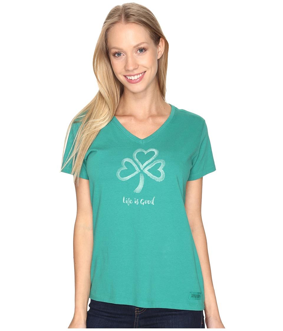 Life is good - Shamrock Hearts Crusher Vee (Jungle Green) Women's T Shirt
