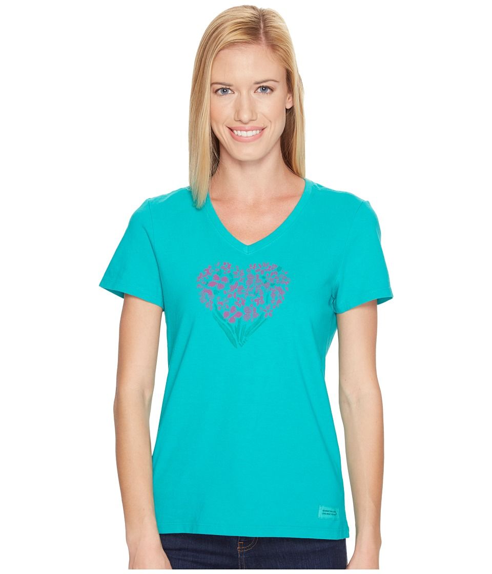 Life is Good - Floral Heart Crusher Vee (Bright Teal) Women's T Shirt
