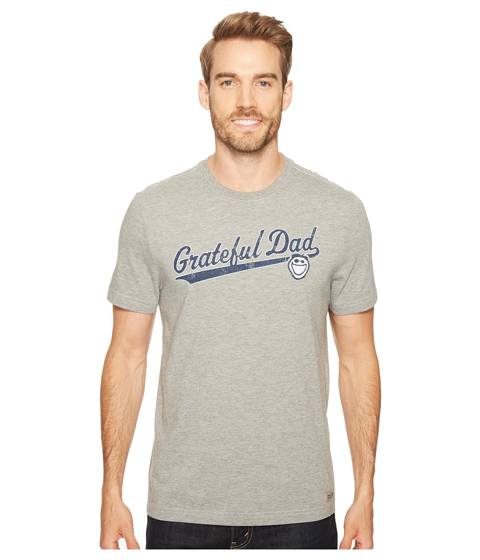 Life is Good - Grateful Dad Script Crusher Tee (Heather Gray) Men's T Shirt