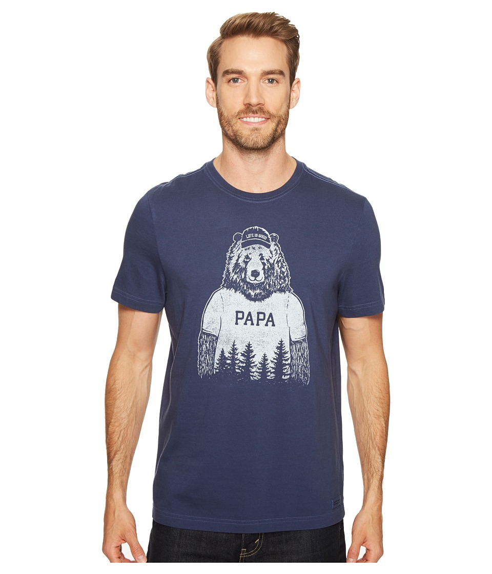 Life is Good - Papa Bear Crusher Tee (Darkest Blue) Men's T Shirt