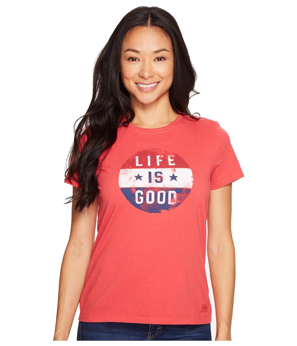 Life is Good - Flag Circle Crusher Tee (Americana Red) Women's T Shirt