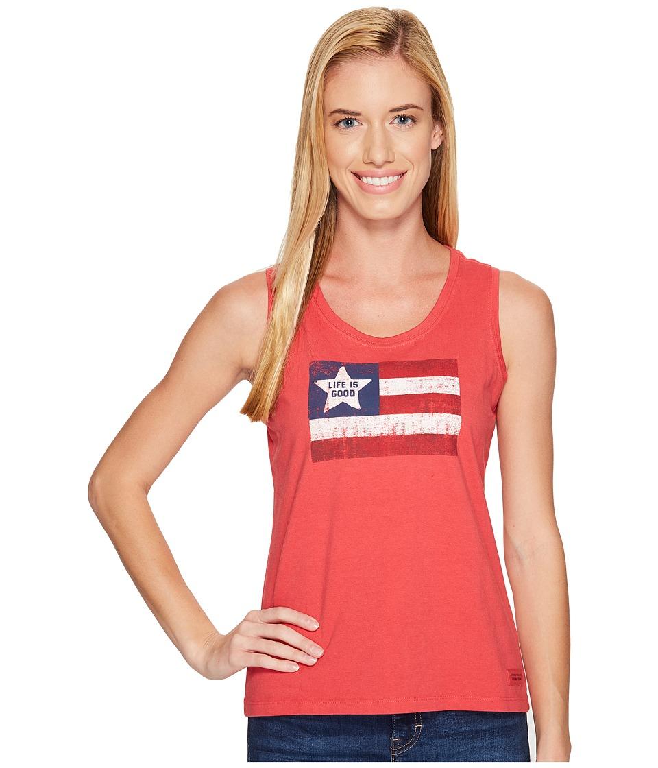 Life is Good - Flag Sleeveless Crusher Scoop (Americana Red) Women's Sleeveless