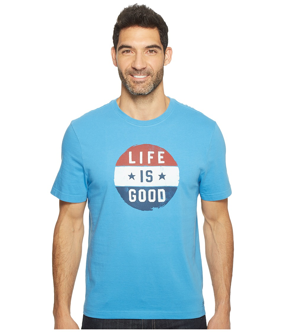 Life is Good - Circle Flag Crusher Tee (Marina Blue) Men's T Shirt
