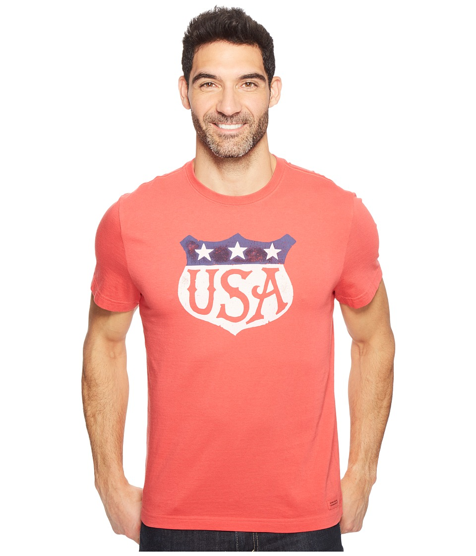 Life is Good - USA Shield Crusher Tee (Americana Red) Men's T Shirt