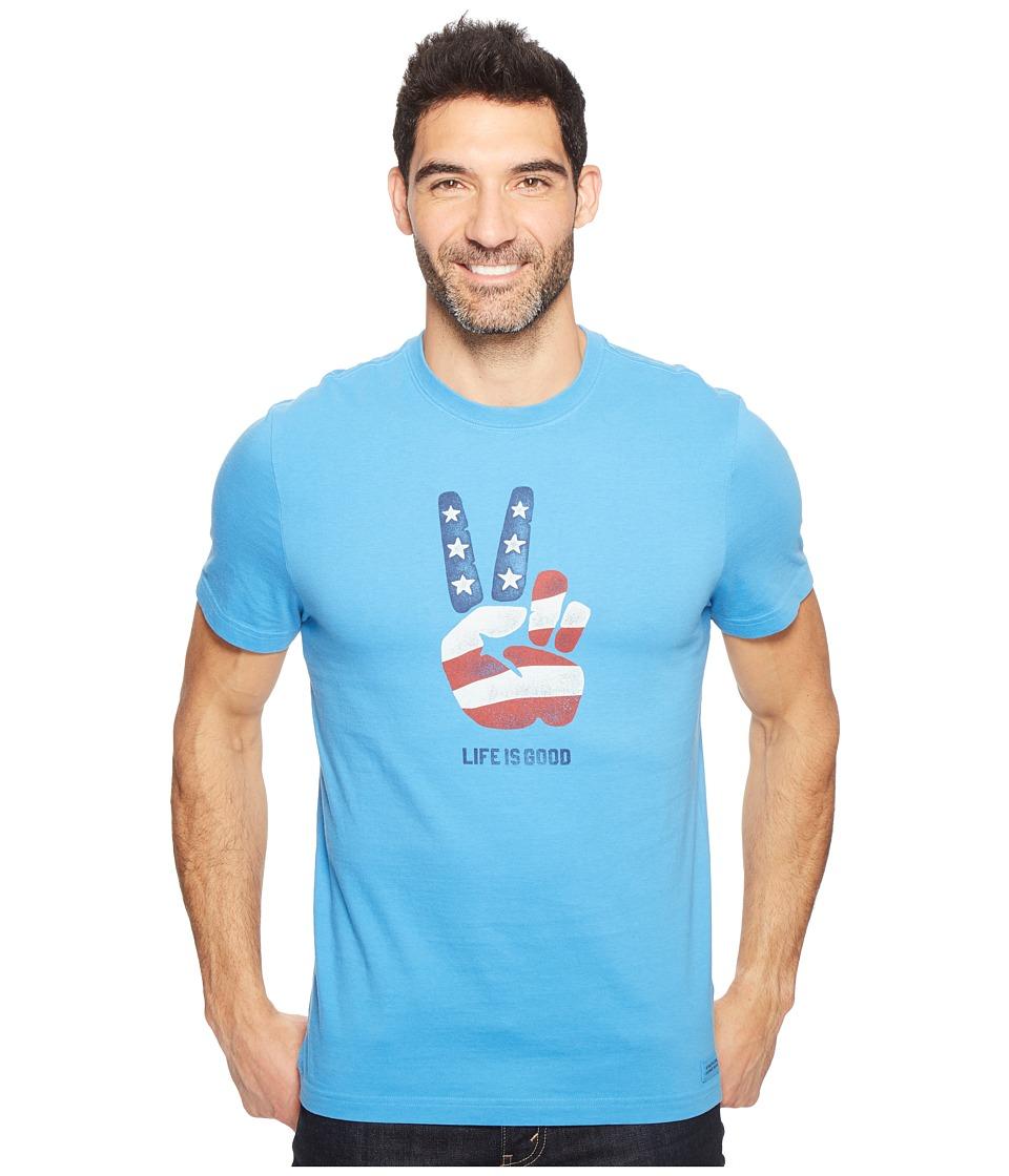 Life is Good - Peace Flag Crusher Tee (Marina Blue) Men's T Shirt