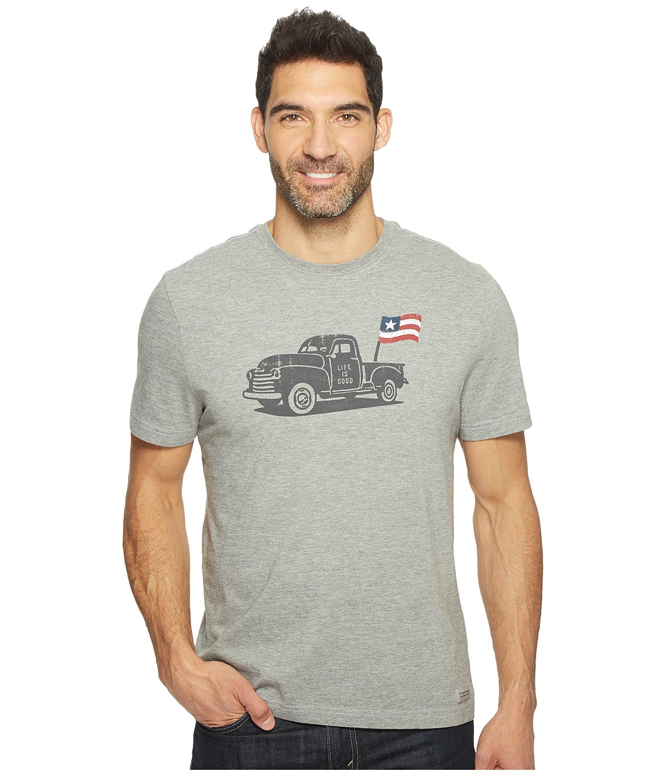 Life is Good - Truck Flag Crusher Tee (Heather Gray) Men's T Shirt