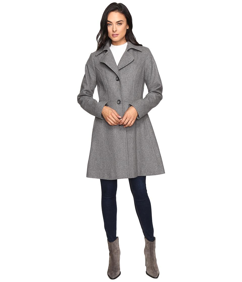 Betsey Johnson - Button Up Wool Coat (Silver/Heather Grey) Women's Coat
