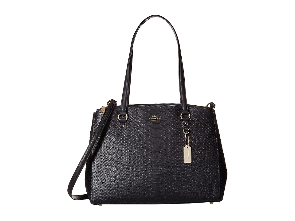 COACH - Stamped Snakeskin Stanton Carryall (Navy) Handbags