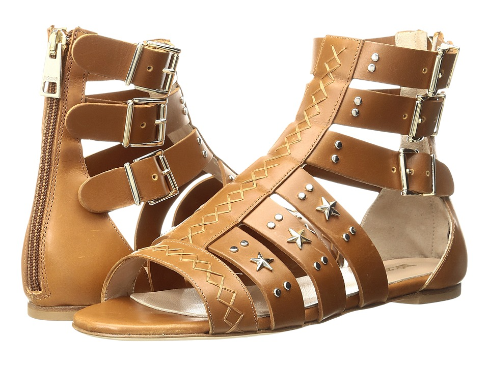 Just Cavalli Leather Star and Stud Sandal (Caramel) Women