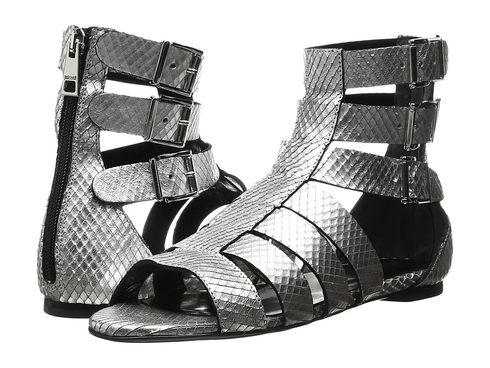 Just Cavalli - Python Leather Sandal (Silver) Women's Shoes
