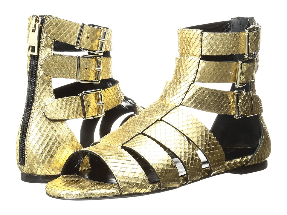 Just Cavalli - Python Leather Sandal (Gold) Women's Shoes
