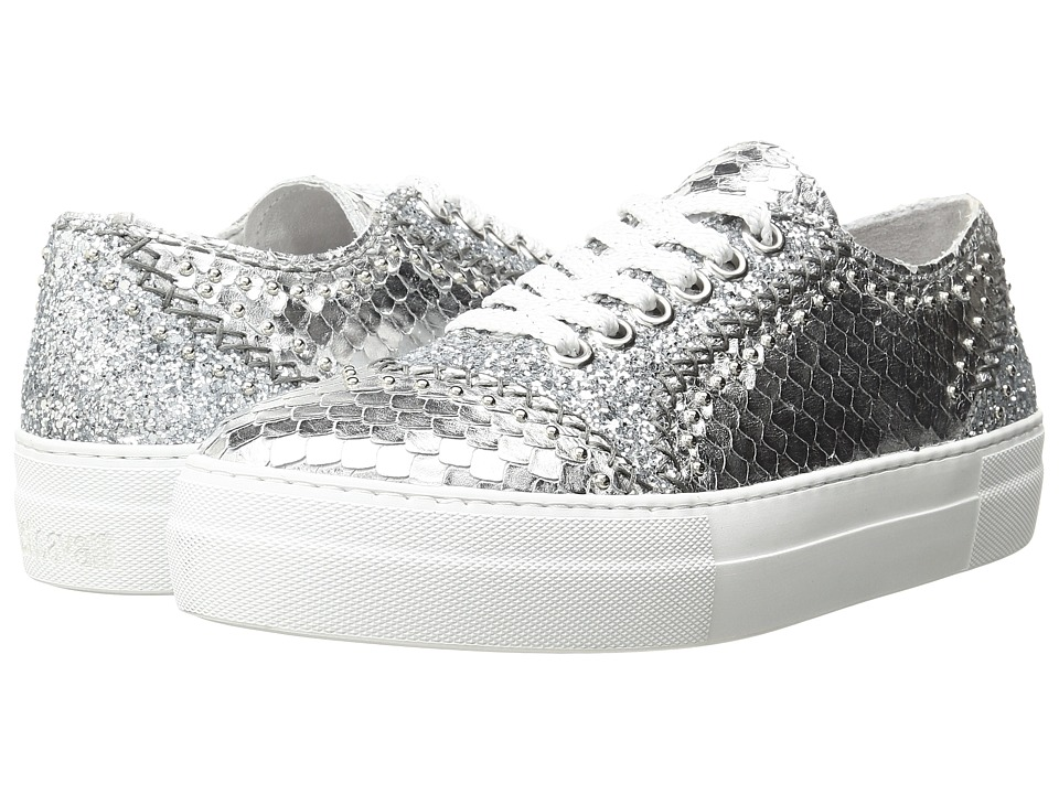 Just Cavalli - Python Leather and Glitter Sneaker (Gun Metal) Women's Shoes